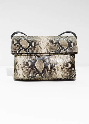And other stories Fold-Over Snake Embossed Leather Crossbody