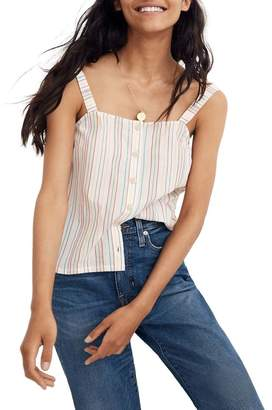 Madewell Textured Rainbow Stripe Button Front Camisole