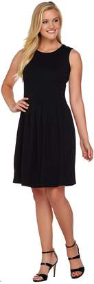 Shape Fx Ponte Knit Pleated Dress with Removable Power Mesh Slip