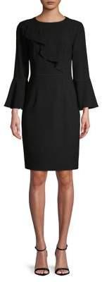 Elie Tahari Bell-Sleeve Crepe Sheath Dress
