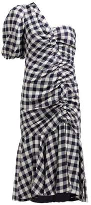 Jonathan Simkhai Asymmetric Gingham Print Dress - Womens - Navy White