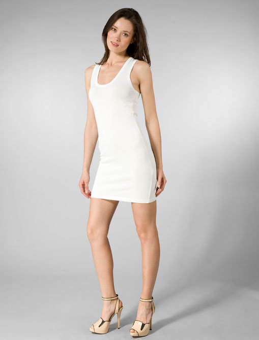 Members Only Sleeveless Scoop Neck Racer Back Dress in White