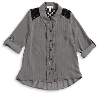 Sophia + Zeke Girls 7-16 Striped Ruffled Blouse $35 thestylecure.com