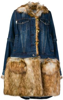 Sacai denim faux fur coat