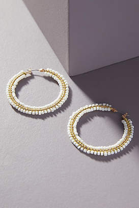 Anthropologie Carter Beaded Hoop Earrings