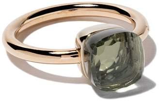 Pomellato 18kt rose & white small Nudo prasiolite ring