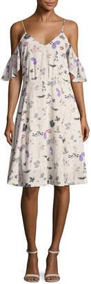 Ava & Aiden Cold-Shoulder Midi Dress