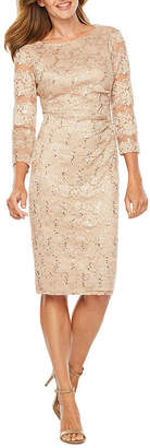 Jessica Howard 3/4 Sleeve Lace Sheath Dress