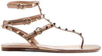 Valentino - Rockstud Flat Leather Sandals - Womens - Gold