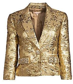 Michael Kors Women's Embroidered Pocket One-Button Jacket