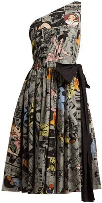 Prada Comic-print one-shoulder cotton dress