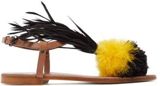 álvaro - Arajan Feather Trimmed Leather Sandals - Womens - Black Yellow