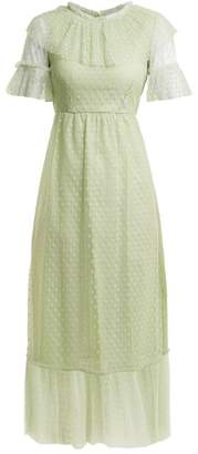 Luisa Beccaria Polka Dot Tulle Dress - Womens - Light Green