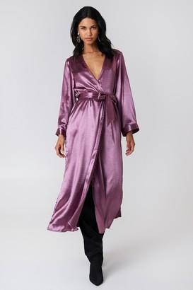 Na Kd Party Side Slit Satin Coat Purple