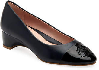 Taryn Rose Babe Patent-Capped Leather Ballet Pumps