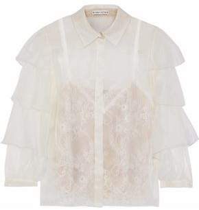 Alice + Olivia Mary Alice Layered Organza And Chantilly Lace Blouse