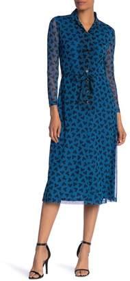 Anne Klein Long Sleeve Button Down Print Dress