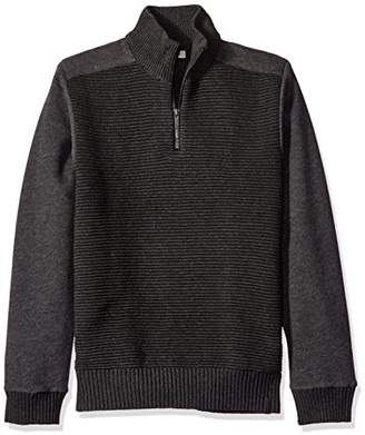 Calvin Klein Jeans Men's Quarter Zip Ottoman Tube Mixed Gauge Sweater