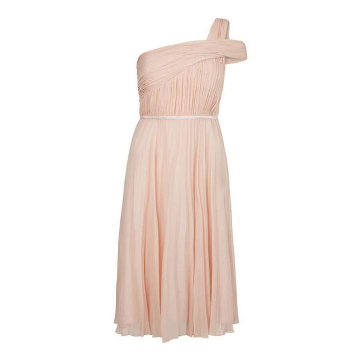 Peach Pink Pleated Andrea Dress