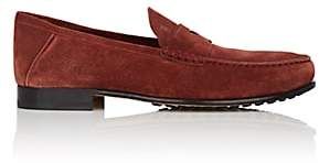 Tod's MEN'S SUEDE PENNY LOAFERS - DARK RED SIZE 8.5 M