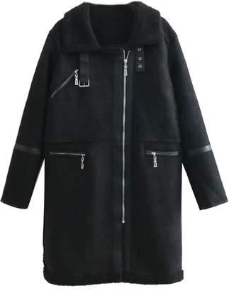 Goodnight Macaroon 'Lulla' Faux Suede Fleece Shearling Coat (3 Colors)