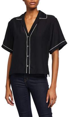 ATM Anthony Thomas Melillo Hammered Silk Short-Sleeve Cropped Shirt