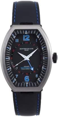 Montres de Luxe Men's EXN 9601 Estremo Titanium and Aluminum Luminous Red Top Stitched Leather Date Watch