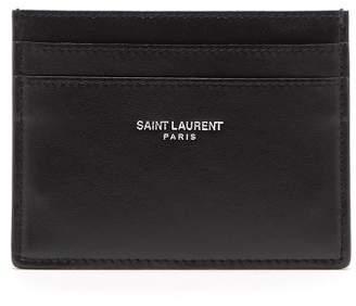 Saint Laurent Leather Bandana Print Cardholder - Mens - Red