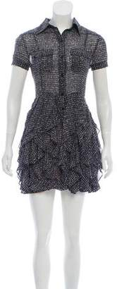 Rachel Zoe Printed Ruffle Button-Up Mini Dress