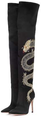 Gianvito Rossi Dragon embroidered satin over-the-knee boots