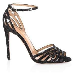 Aquazzura Sequin Trim Studio Sandals