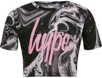 Hype Girls paint splat print crop T-shirt
