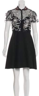 Valentino Embellished Virgin Wool-Blend Dress w/ Tags
