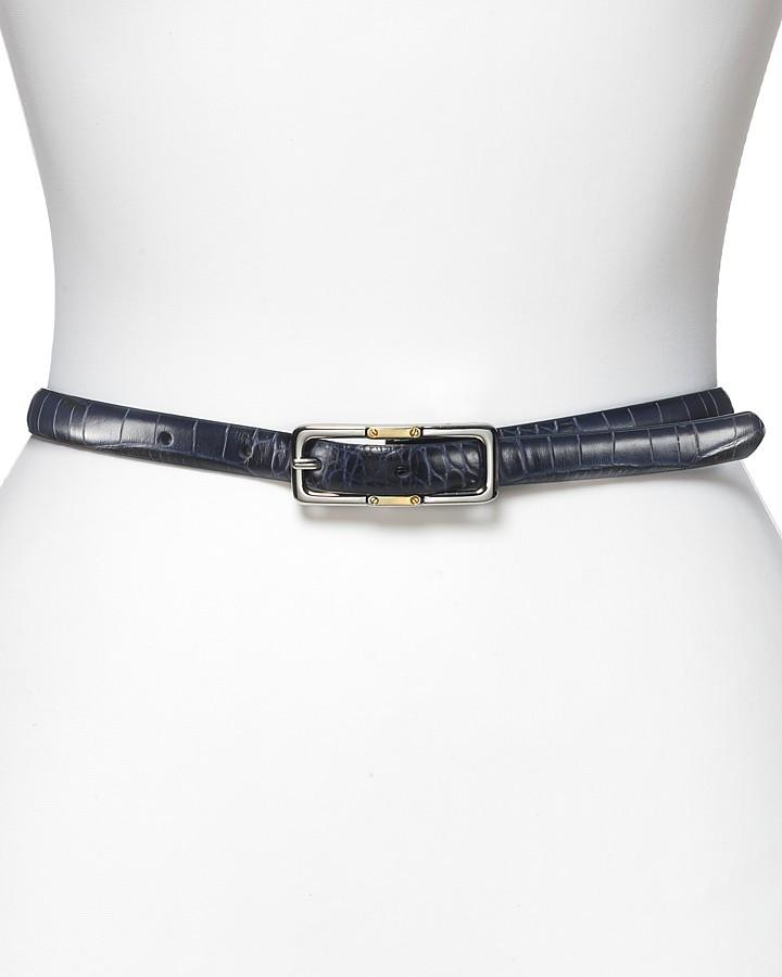 Lauren by Ralph Lauren Italian Croco Leather Reversible Skinny Belt, 0.60