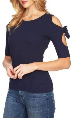 CeCe Ribbed Cold Shoulder Cotton Sweater