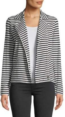 Neiman Marcus Majestic Paris for Zip-Front Long-Sleeve Striped Moto Blazer