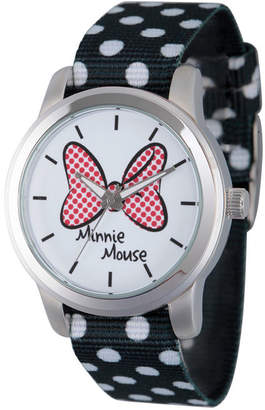 Disney Womens Minnie Mouse Black Polka Dot And Bow Strap Watch