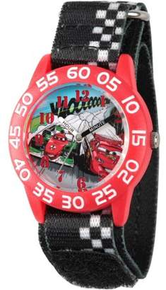 Disney Lightning McQueen and Francesco Bernoulli Boys' Red Plastic Time Teacher Watch, Black Hook-and-Loop Nylon Strap with White Plaid Printing