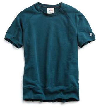Todd Snyder + Champion Short Sleeve Sweatshirt in Petrol Blue