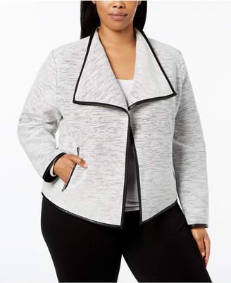 Calvin Klein Plus Size Line-Detail Flyaway Jacket