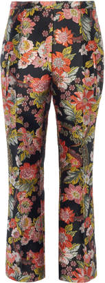 Andrew Gn Cropped Floral-Jacquard Slim-Leg Pants