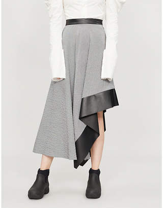 Loewe Asymmetric woven and leather midi skirt