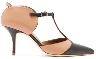 Malone Souliers Imogen T Bar Leather Mules - Womens - Black Nude