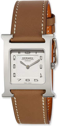 Hermes Heure H MM Watch with Taupe Leather Strap