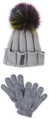 Maniere (Girls 4-6x) Two-Piece Pom-Pom Hat & Gloves Set