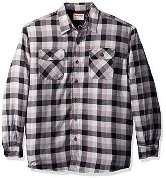 Wrangler Authentics Men's Long Sleeve Sherpa Lined Flannel Shirt Jacket
