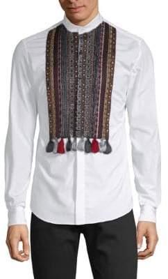 Valentino Tasseled Cotton Button-Down Shirt
