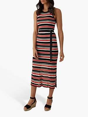 340168c938 Karen Millen Striped Knitted Midi Dress, Black/Multi