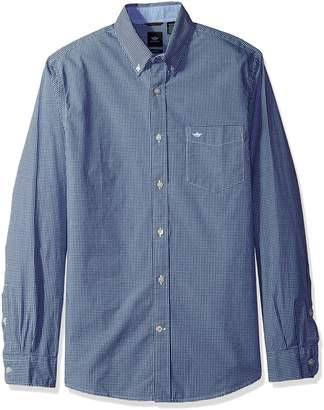 Dockers Beached Poplin Long Sleeve Button-Front Shirt, Dark