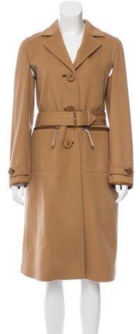 pradaPrada Leather-Trimmed Virgin Wool Coat